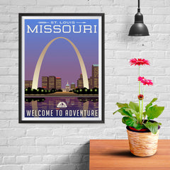 Ezposterprints - MISSOURI Retro Travel Poster - 12x16 ambiance display photo sample