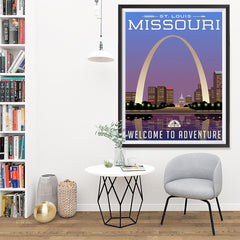 Ezposterprints - MISSOURI Retro Travel Poster - 36x48 ambiance display photo sample