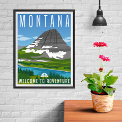 Ezposterprints - MONTANA Retro Travel Poster - 12x16 ambiance display photo sample