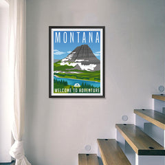 Ezposterprints - MONTANA Retro Travel Poster - 18x24 ambiance display photo sample