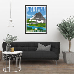 Ezposterprints - MONTANA Retro Travel Poster - 24x32 ambiance display photo sample