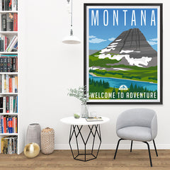 Ezposterprints - MONTANA Retro Travel Poster - 36x48 ambiance display photo sample