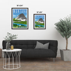 Ezposterprints - MONTANA Retro Travel Poster ambiance display photo sample