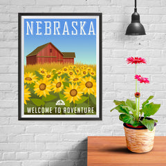 Ezposterprints - NEBRASKA Retro Travel Poster - 12x16 ambiance display photo sample