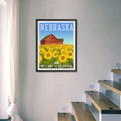 Ezposterprints - NEBRASKA Retro Travel Poster - 18x24 ambiance display photo sample
