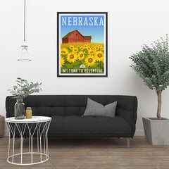 Ezposterprints - NEBRASKA Retro Travel Poster - 24x32 ambiance display photo sample