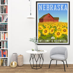 Ezposterprints - NEBRASKA Retro Travel Poster - 36x48 ambiance display photo sample