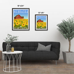 Ezposterprints - NEBRASKA Retro Travel Poster ambiance display photo sample