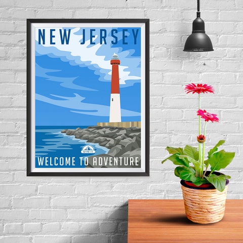 Ezposterprints - NEW JERSEY Retro Travel Poster - 12x16 ambiance display photo sample