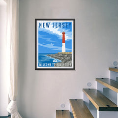 Ezposterprints - NEW JERSEY Retro Travel Poster - 18x24 ambiance display photo sample
