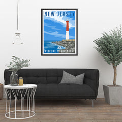 Ezposterprints - NEW JERSEY Retro Travel Poster - 24x32 ambiance display photo sample