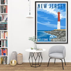 Ezposterprints - NEW JERSEY Retro Travel Poster - 36x48 ambiance display photo sample