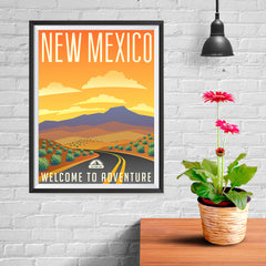 Ezposterprints - NEW MEXICO Retro Travel Poster - 12x16 ambiance display photo sample