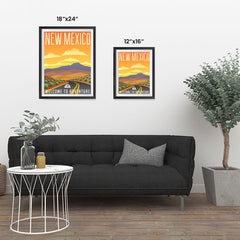 Ezposterprints - NEW MEXICO Retro Travel Poster ambiance display photo sample