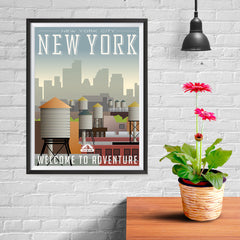 Ezposterprints - NEW YORK Retro Travel Poster - 12x16 ambiance display photo sample