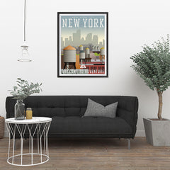 Ezposterprints - NEW YORK Retro Travel Poster - 24x32 ambiance display photo sample