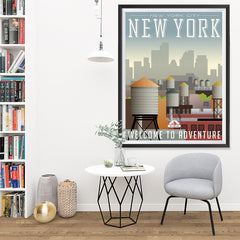 Ezposterprints - NEW YORK Retro Travel Poster - 36x48 ambiance display photo sample