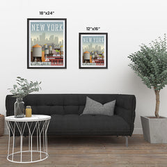 Ezposterprints - NEW YORK Retro Travel Poster ambiance display photo sample