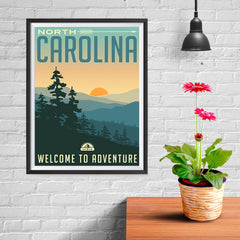 Ezposterprints - NORTH CAROLINA Retro Travel Poster - 12x16 ambiance display photo sample