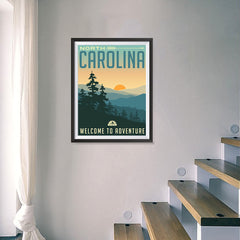 Ezposterprints - NORTH CAROLINA Retro Travel Poster - 18x24 ambiance display photo sample
