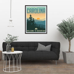 Ezposterprints - NORTH CAROLINA Retro Travel Poster - 24x32 ambiance display photo sample