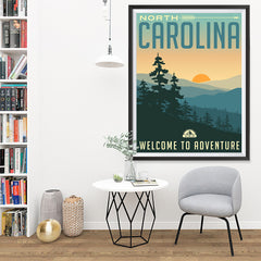 Ezposterprints - NORTH CAROLINA Retro Travel Poster - 36x48 ambiance display photo sample