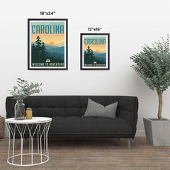 Ezposterprints - NORTH CAROLINA Retro Travel Poster ambiance display photo sample