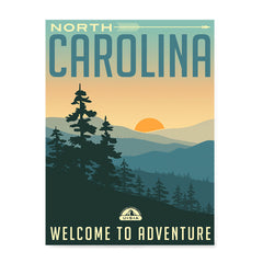 Ezposterprints - NORTH CAROLINA Retro Travel Poster