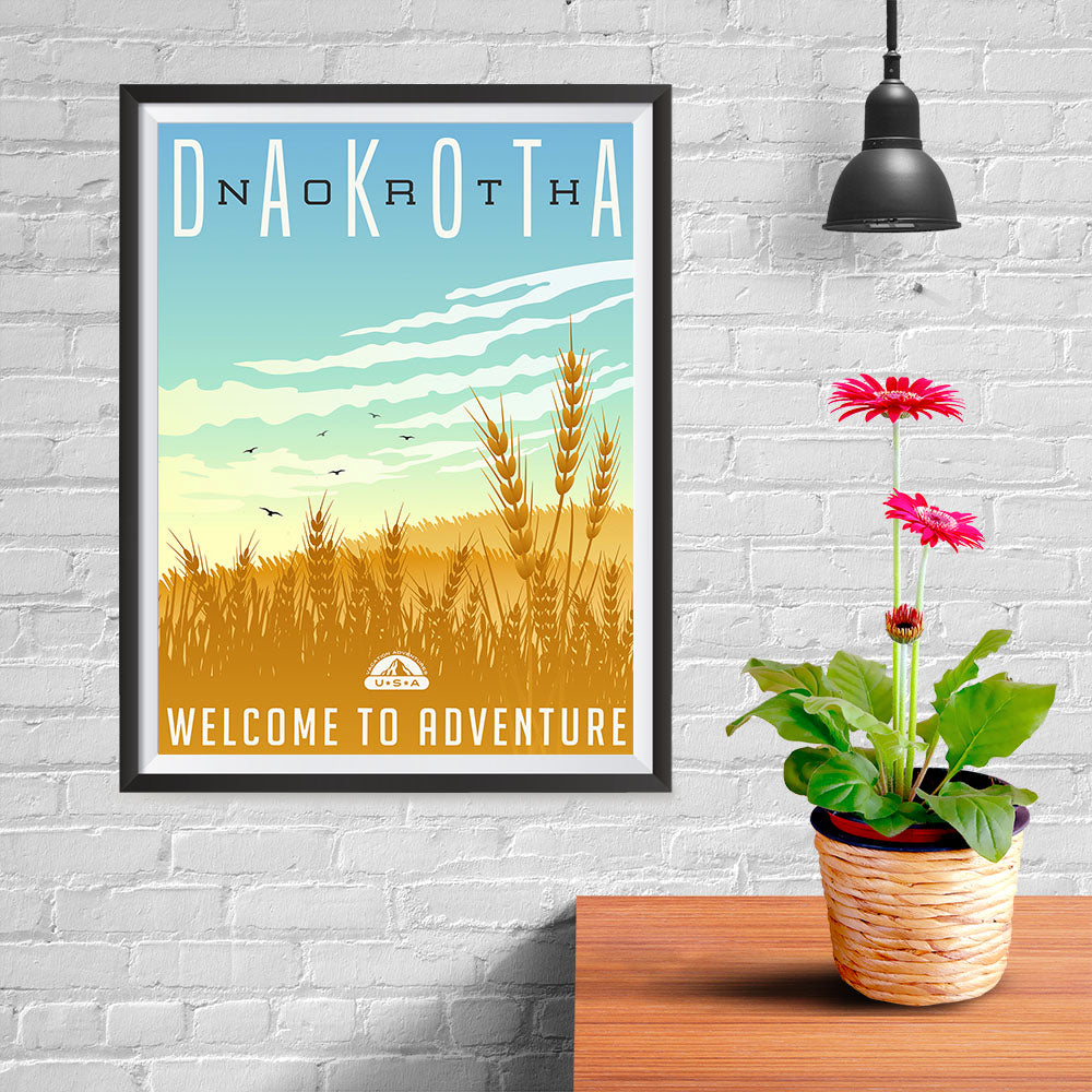 Ezposterprints - NORTH DAKOTA Retro Travel Poster - 12x16 ambiance display photo sample