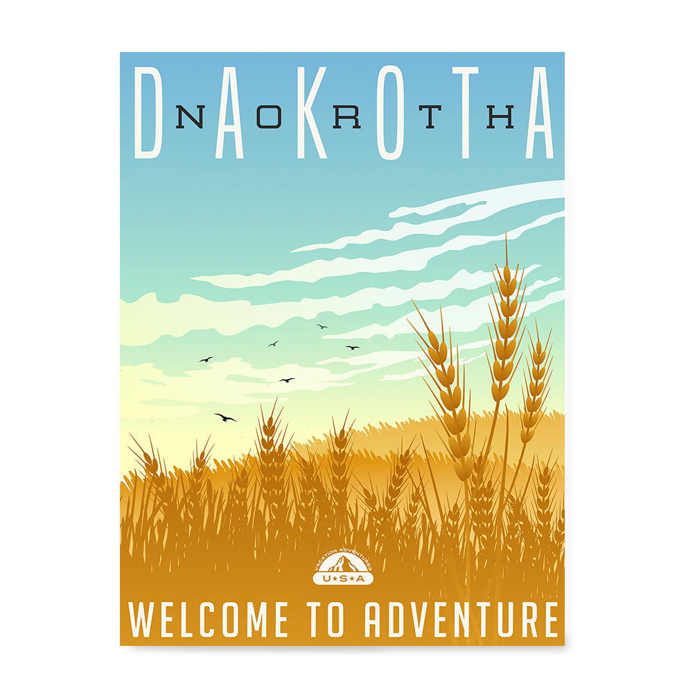 Ezposterprints - NORTH DAKOTA Retro Travel Poster