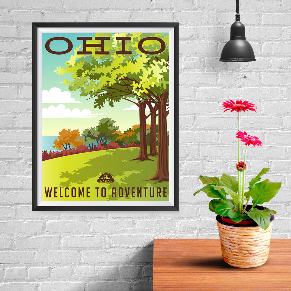 Ezposterprints - OHIO Retro Travel Poster - 12x16 ambiance display photo sample