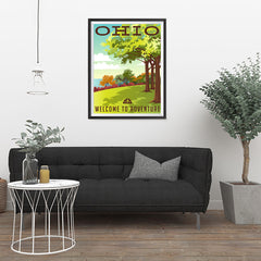Ezposterprints - OHIO Retro Travel Poster - 24x32 ambiance display photo sample