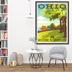 Ezposterprints - OHIO Retro Travel Poster - 36x48 ambiance display photo sample