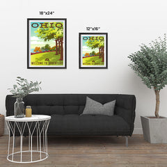 Ezposterprints - OHIO Retro Travel Poster ambiance display photo sample
