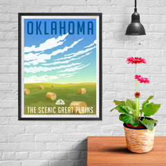Ezposterprints - OKLAHOMA Retro Travel Poster - 12x16 ambiance display photo sample