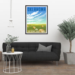 Ezposterprints - OKLAHOMA Retro Travel Poster - 24x32 ambiance display photo sample