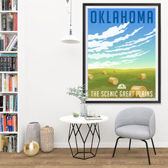 Ezposterprints - OKLAHOMA Retro Travel Poster - 36x48 ambiance display photo sample