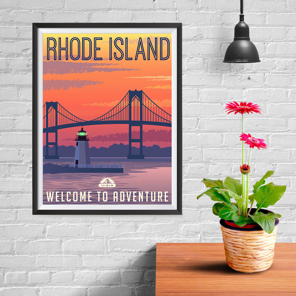 Ezposterprints - RHODE ISLAND Retro Travel Poster - 12x16 ambiance display photo sample