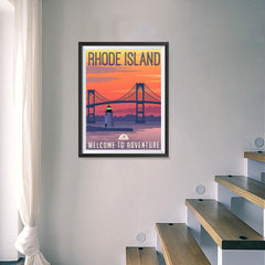 Ezposterprints - RHODE ISLAND Retro Travel Poster - 18x24 ambiance display photo sample