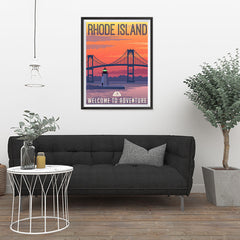 Ezposterprints - RHODE ISLAND Retro Travel Poster - 24x32 ambiance display photo sample