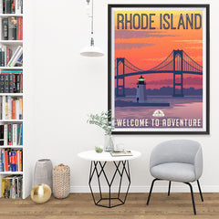Ezposterprints - RHODE ISLAND Retro Travel Poster - 36x48 ambiance display photo sample