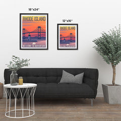 Ezposterprints - RHODE ISLAND Retro Travel Poster ambiance display photo sample