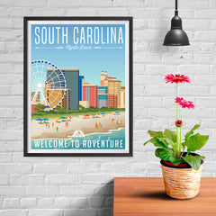 Ezposterprints - SOUTH CAROLINA Retro Travel Poster - 12x16 ambiance display photo sample