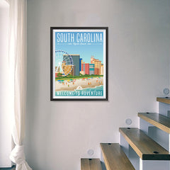 Ezposterprints - SOUTH CAROLINA Retro Travel Poster - 18x24 ambiance display photo sample