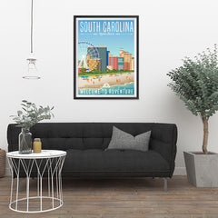 Ezposterprints - SOUTH CAROLINA Retro Travel Poster - 24x32 ambiance display photo sample