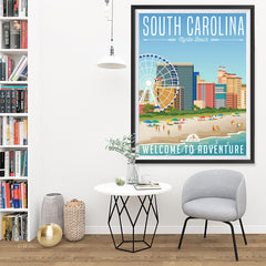 Ezposterprints - SOUTH CAROLINA Retro Travel Poster - 36x48 ambiance display photo sample