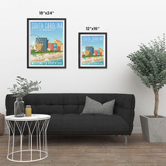 Ezposterprints - SOUTH CAROLINA Retro Travel Poster ambiance display photo sample