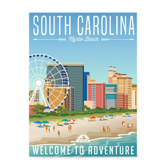 Ezposterprints - SOUTH CAROLINA Retro Travel Poster