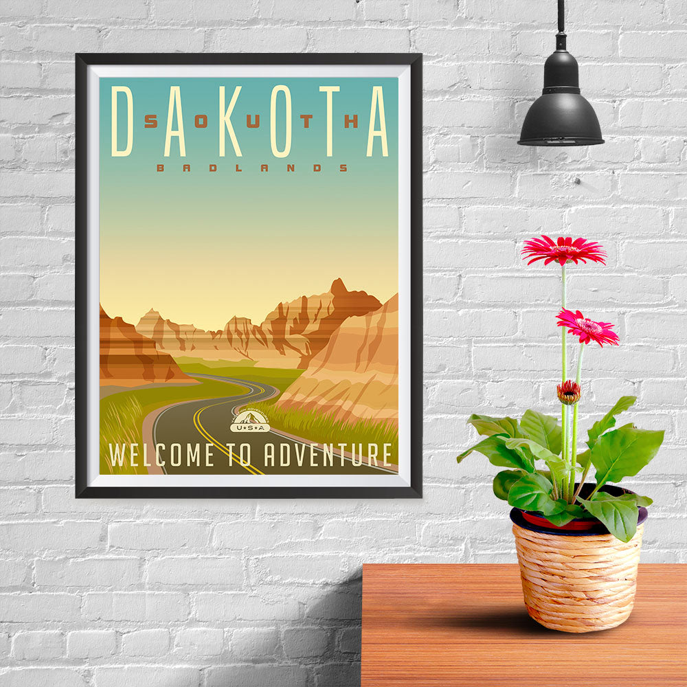 Ezposterprints - SOUTH DAKOTA Retro Travel Poster - 12x16 ambiance display photo sample