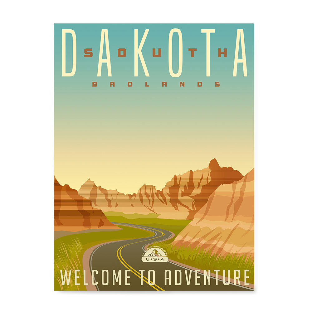 Ezposterprints - SOUTH DAKOTA Retro Travel Poster